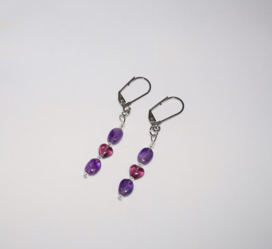 Handmade amethyst earrings with purple heart and sparkling seed beads