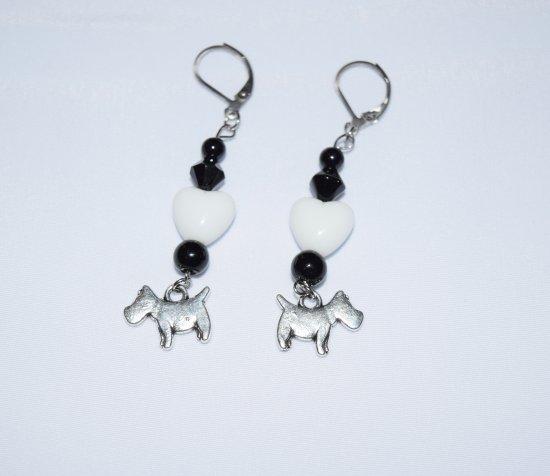 Handmade dog earrings, dog charm, onyx and white & black glass beads