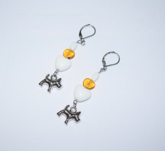 Handmade dog earrings, dog charm, white & honey glass beads