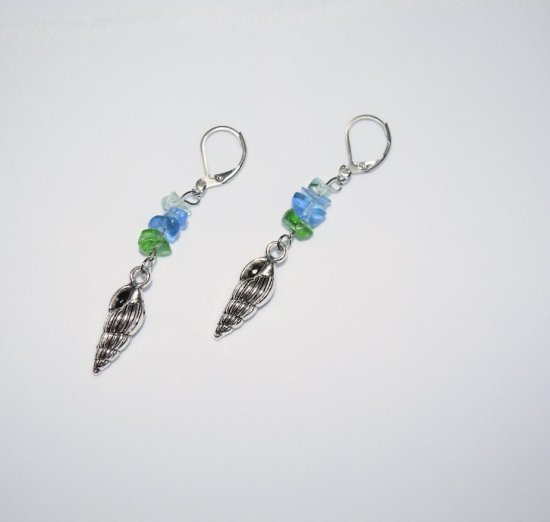 Handmade earrings, shell charm, green and blue glass chips