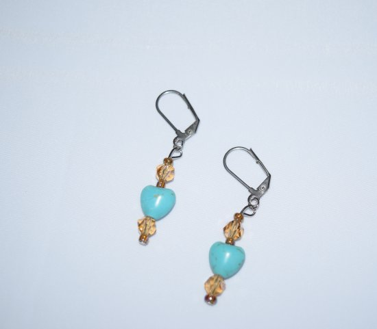 Handmade earrings, turquoise heart, amber glass crystals and seed beads