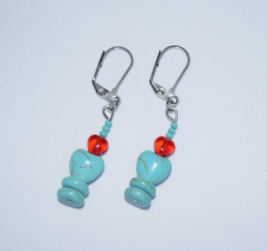 Handmade earrings, turquoise rondelles, red glass heart and seed beads