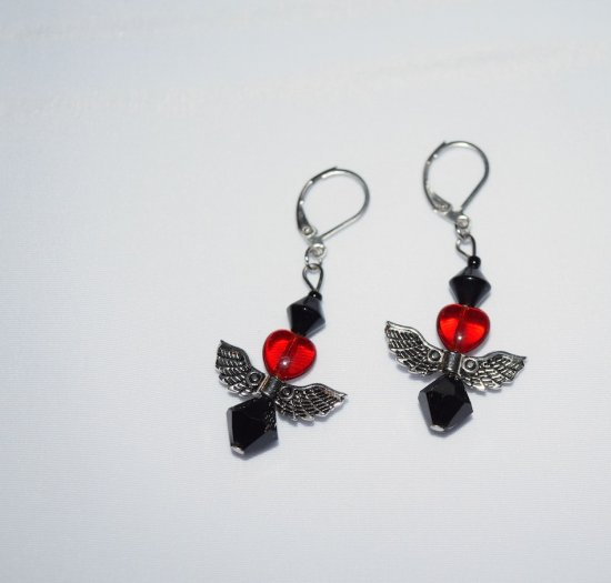 Handmade earrings, red glass heart, angel wings and black glass beads
