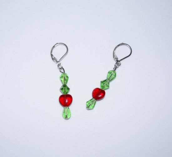 Handmade red & green earrings, Swarovski crystals, red glass heart & green glass beads