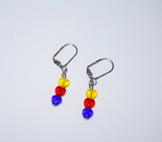 Handmade earrings, sparkling glass hearts in yellow, red and cobalt blue