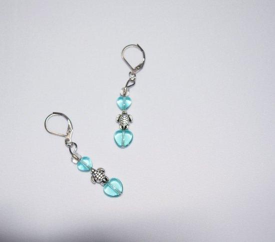 Handmade earrings, turtle charm, aqua glass hearts
