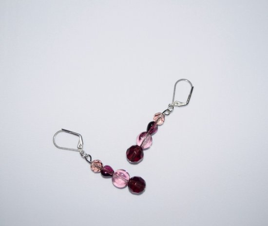 Handmade purple earrings, faceted crystals and purple heart bead