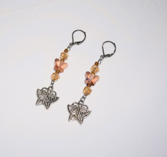 Handmade butterfly earrinngs; butterfly charm, pink crystal butterfly, Czech amber glass crystals