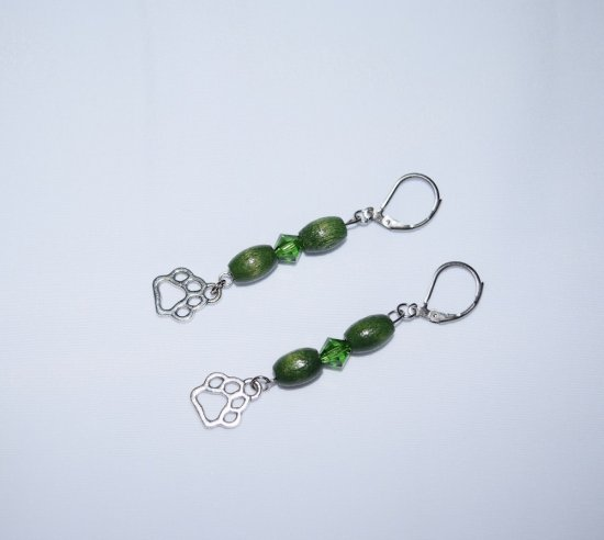 Handmade green earrings, pawprint charm, vintage wood beads and Swarovski crystal