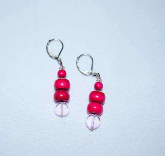 Handmade magenta earrings, vintage wood, lavendar crystals, pink glass beads