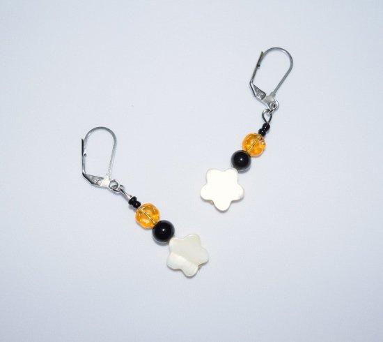 """Handmade """"Berner"""" earrings, black onyx, white mother-of pearl & amber glass beads"""