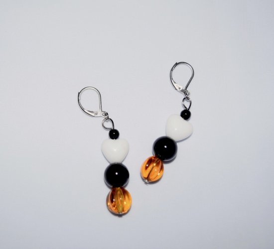 "Handmade ""Berner"" earrings, black, white and amber glass beads with black riverstone"