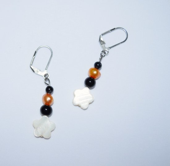 "Handmade ""Berner"" earrings with black onyx & riverstone, cutured pearl beads, mother-of-pearl flower"
