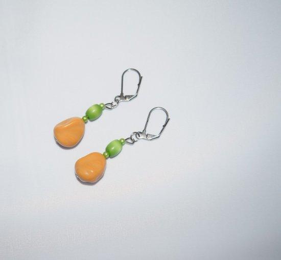 Handmade earrings, tan potato, green cat™s eye and seed beads