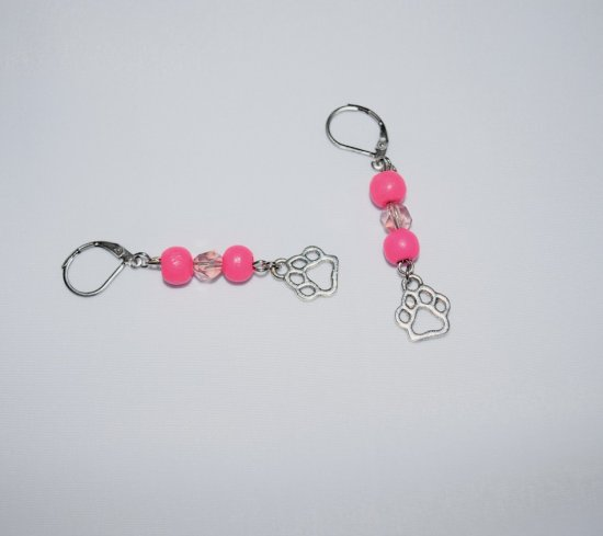Handmade earrings, pawprint with pink wood and crystal dangle