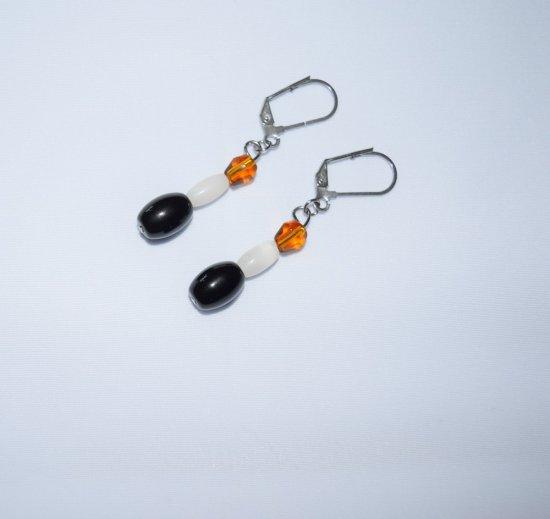 "Handmade ""Berner"" earrings, onyx, white and amber  beads"