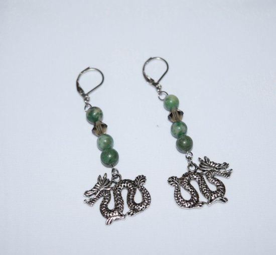 Handmade dragon earrings, dragon charm with green hai jade beads and black Czech crystal