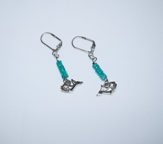 Handmade whale earrings, whale charm with sparkling green-blue cane glass beads