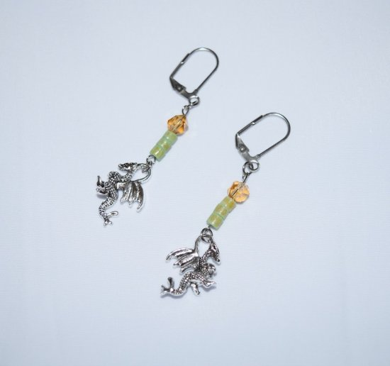 Handmade dragon earrings, dragon charm with vintage green heisi beads and pale gold Czech crystal