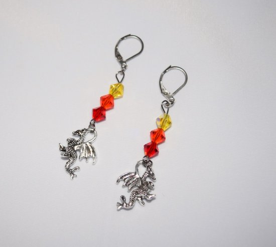 Handmade dragonfire earrings, dragon charm and Czech crystals in red, orange and yellow