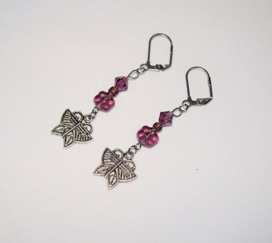 Handmade butterfly earrings, sparkling purple Czech crystal & flower beads with buttefly charm