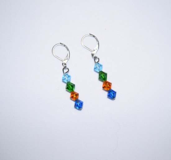 Handmade sparkling crystal earrings, Czech & Swarovski blue, green, honey & aquamarine crystals