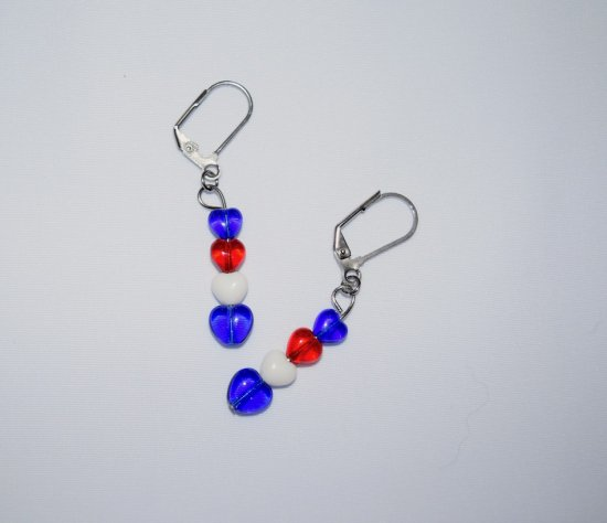 Handmade heart earrings with red, white and blue glass heart beads