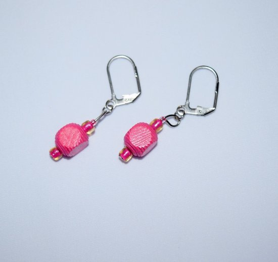 Handmade pink earrings, vintage wood and E beads