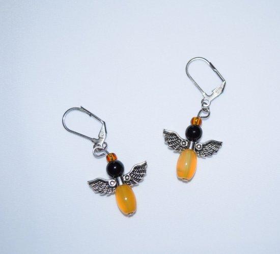 Handmade angel earrings, angel wings charm, onyx, agate and seed beads