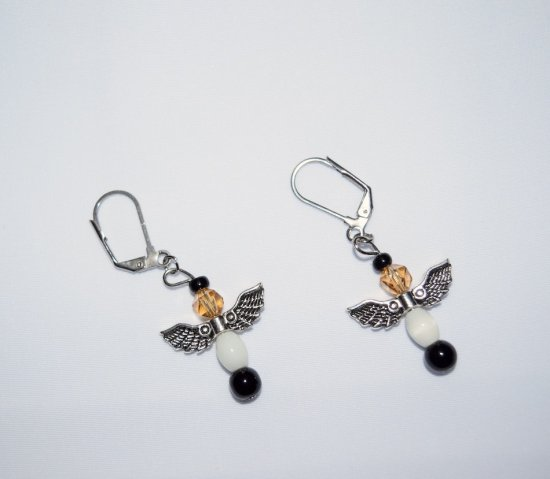 "Handmade ""Berner"" earrings, angel wings charm, Czech crystal, onyx and glass beads"