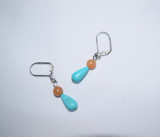 Handmade turquoise earrings, resin and aventurine beads