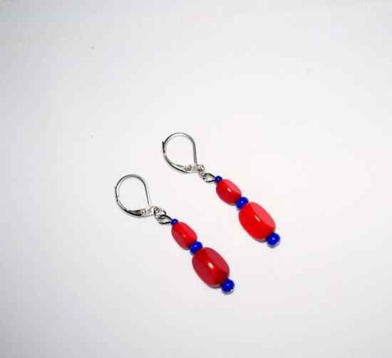 Handmade red earrings, vintage red wood and blue  seed beads