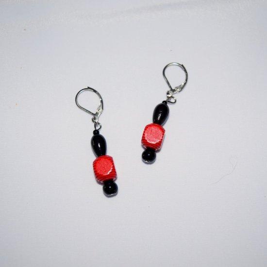 Handmade red & black earrings, vintage red wood, black onyx & black glass beads