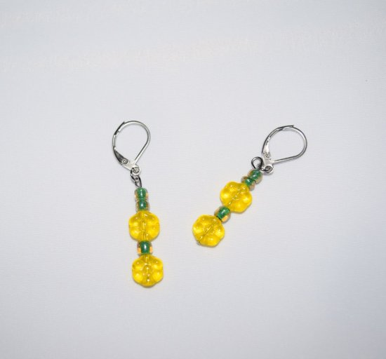 Handmade yellow earrings, Czech glass flowers and green E beads
