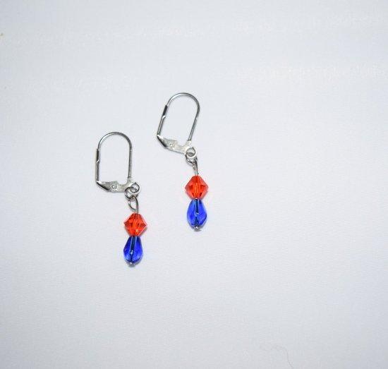 Handmade orange & blue earrings, sparkling Czech crystal & blue glass