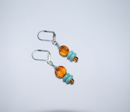 Handmade amber & turquoise earrings, Czech glass, resin and seed beads