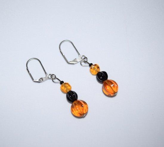 Handmade amber & black earrings, Czech glass and black glass beads