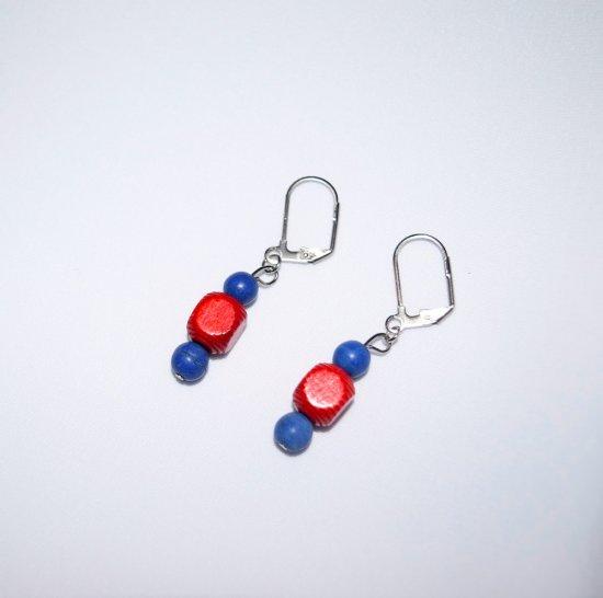 Handmade red & blue earrings, vintage wood and resin beads