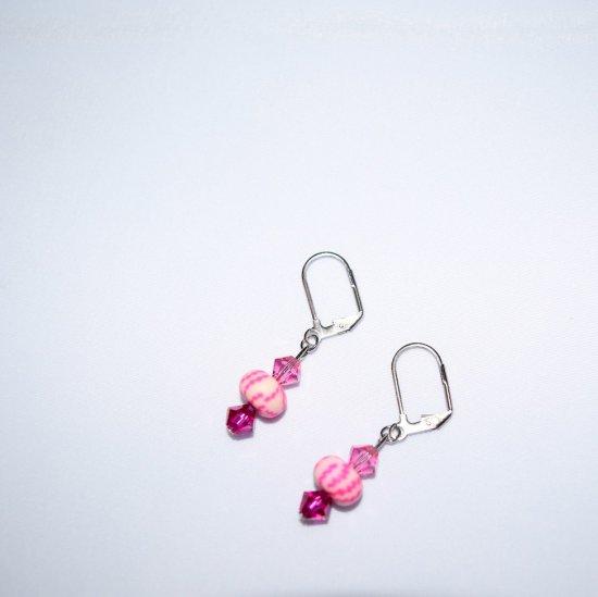 Handmade pink & magenta earrings, Swarovski crystals, clay bead