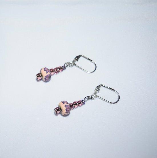 Handmade purple earrings, sparkling amtheyst E beads and FIMO clay  bead