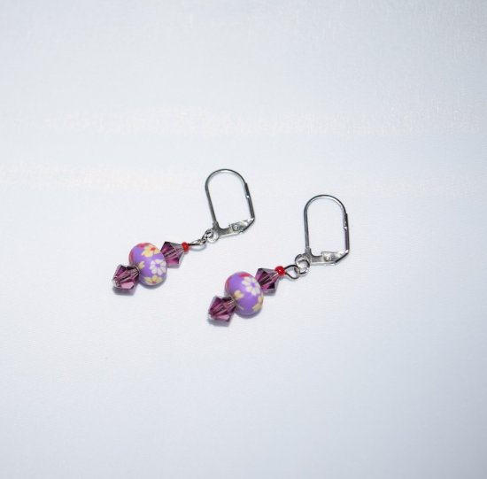 Handmade purple earrings, sparkling purple Czech crystals with FIMO clay bead,