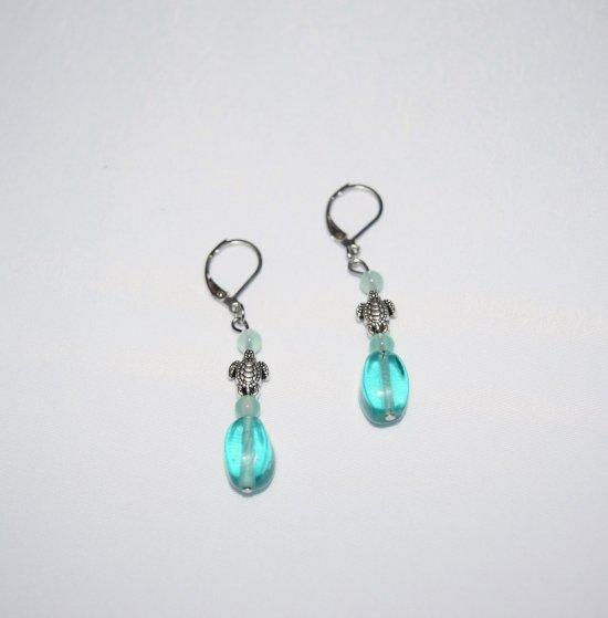 Handmade earrings, turtle bead, green agate beads and aqua fluted glass oval