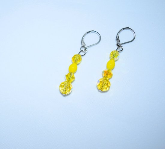 Handmade yellow earrings, sparkling faceted crystals with vintage glass