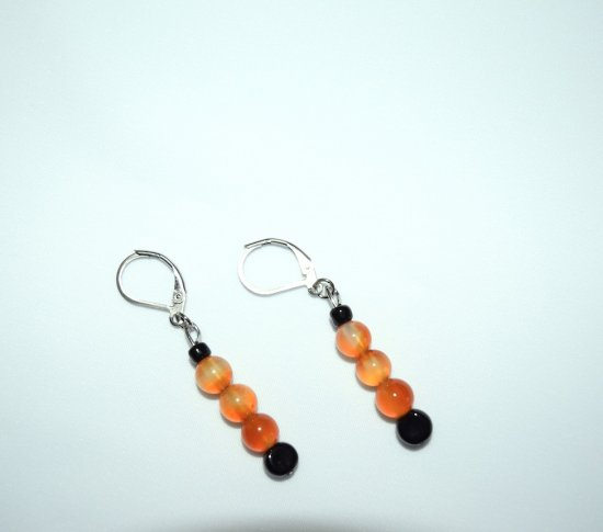Handmade agate earrings, orange agate & black glass beads