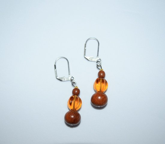 Handmade earrings, vintage brown wood beads, amber glass fluted round bead