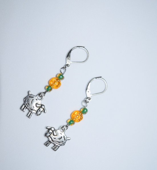 194d02e0c Handmade sheep earrings, sheep charm, amber Czech glass flower, green lined  E beads on CraftIsArt