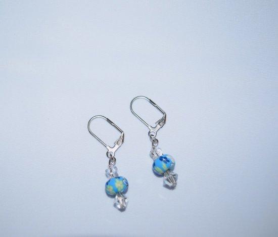 Handmade butterfly earrings, Swarovski crystal butterfly, Czech crystal, FIMO bead