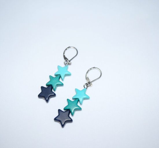 Handmade star earrings, howlite star beads  in turquoise , teal and navy blue