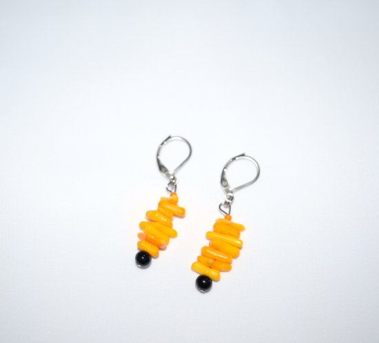 Handmade yellow-orange earrings, yellow coral tips, black riverstone