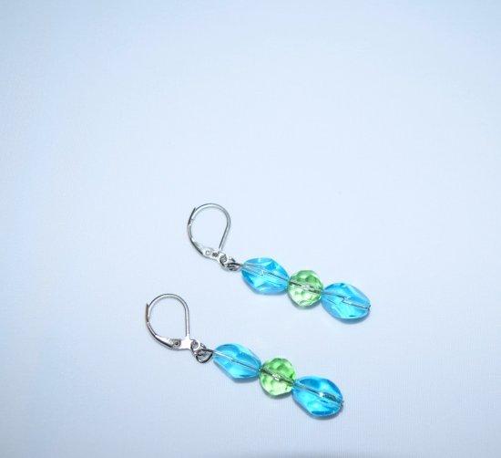 Handmade sparkling earrings, sky blue and green glass beads